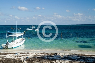 mexican riviera, beach and sea near puerto morelos