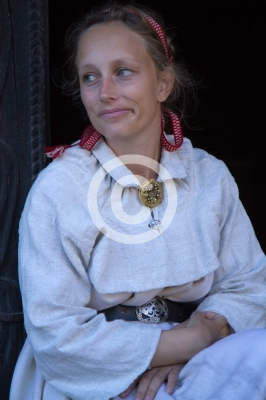 traditional scandinavian woman dressed in typical dress