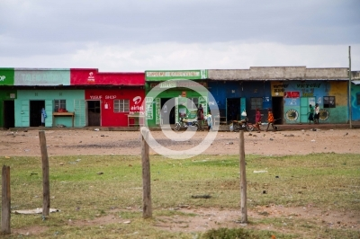 typical village on the road to masai mara in kenya